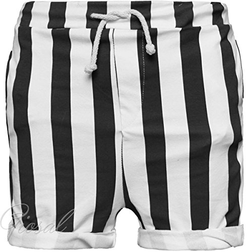 Pantalone Bermuda Uomo Tuta Corto A Righe Bianco Blu Pantaloncino GIOSAL Nero