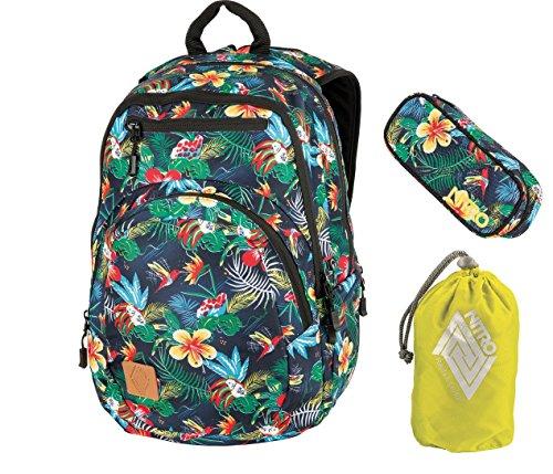 Nitro Rucksack Stash Schoolbag 29L, Daypack, Laptop-Bag, viele Fächer, cooles Design, plus Federmäppchen & Cover,1942
