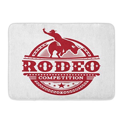 Bad Teppiche Outdoor/Indoor Fußmatte Cowboy Rodeo Wettbewerb Bull Rider Texas Vintage westlichen Badezimmer Dekor Teppich Badematte ()