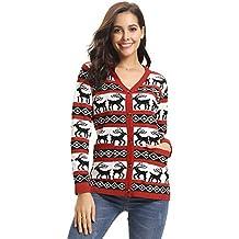 aad0e291c6d Abollria Pull Femme Noël Sweater Tricot Coton Joyeux Christmas Top T-Shirt Motif  Flocon de