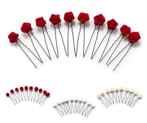 10 épingles à cheveux ornées de roses - accessoire pour coiffure plate/de mariée - Épingle à cheveux noire - rouge bordeaux