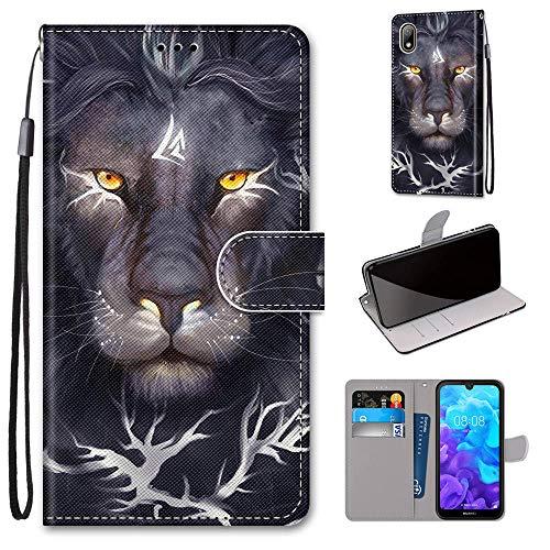 Miagon Flip PU Leder Schutzhülle für Huawei Y5 2019,Bunt Muster Hülle Brieftasche Case Cover Ständer mit Kartenfächer Trageschlaufe,Löwe König