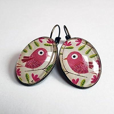 Boucles d'oreilles, Le bel oiseau rose
