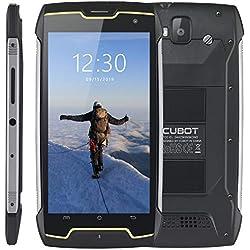 Télephone Portable Debloqué Incassable, CUBOT King Kong Smartphone 5.0 '' étanche, 2Go+16Go, Double SIM, 4400mAh, 13 + 8 MP, IP68 Imperméable Antichoc, Antipoussière, Noir