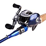 Sougayilang Spinning Baitcasting Fishing Rod with Fishing Reel Combos Left/right (Blue Color Right Hand)