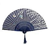 Da.Wa Pliant Ventilateur Pliant en Soie et Bambou de Style Japonais Sakura Avec Motifs de Papillons Hand Held Eventail Pour Danser le Mur de Bureau Cosplay Mariage Fête Les Accessoires Maison Décoration Bricolage