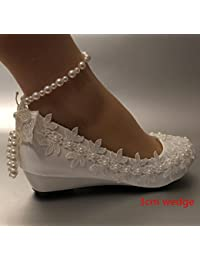 JINGXINSTORE Cuña de 3 cm encaje zapatos novia boda Perla marfil tamaño 5-12,marfil,US 8
