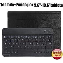 Teclado Bluetooth Español QWERTY Funda ,CoastaCloud Funda Case del Teclado Inalámbrico Magnético Para Cualquier Windows / Android /Apple IOS con 9-10.5 Pulgadas(Tamaño de la tableta adecuada:Min 15x24cm Max 18x26cm) Negro