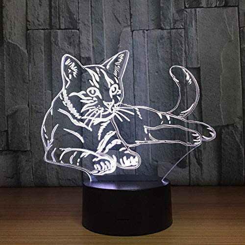 Cute Cat Night Light Touch Switch Animal Light Color