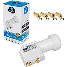 2 salidas de señal satélite LNB Twin LNC directamente Quattro Switch FULL HD TV 3D + con contactos dorados + Protección contra la intemperie (extensible) en HB DIGITAL con 4 F-connettore incluye dorado
