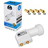 Twin LNB LNC 2 Participants Direct Quattro Switch FULL HD TV 3D + Contacts Dorés + Protection du Temps (amovible) en HB DIGITAL SET avec 4 F-Fiche dorée Gratuit
