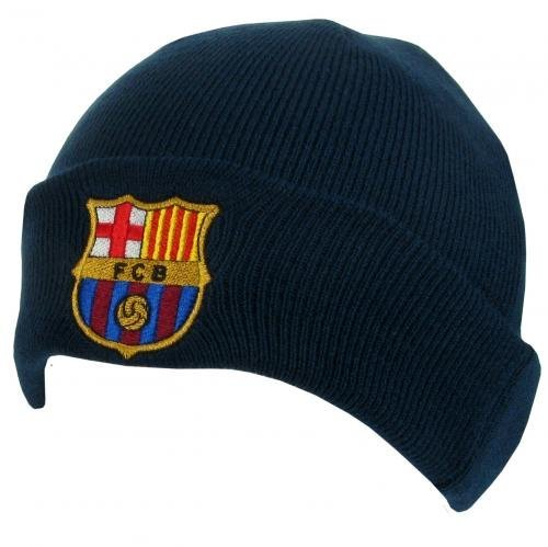 FC Barcelona Football Club Navy Turn Up Knitted Hat Embroidered Crest Official