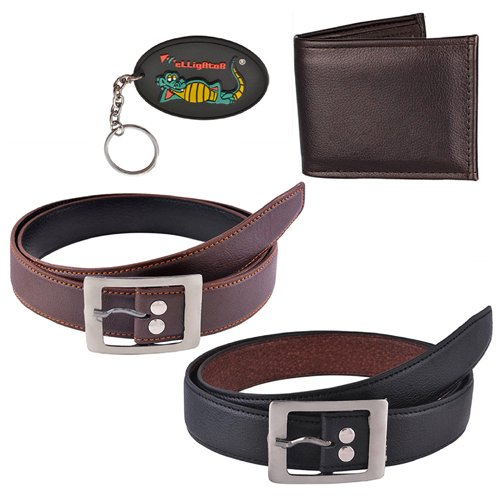 Elligator Classic Men's Synthetic Leather Belt ,Wallet With Key Chain...