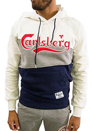 CARLSBERG FELPA TRICOLORE CHIUSA CON CAPPUCCIO - XL, BLU