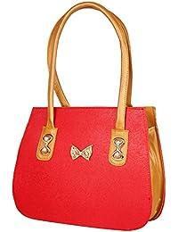 Zaradise Premium Quality Red & Golden Women's Handbag