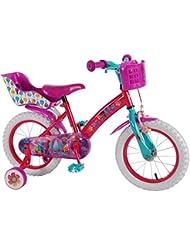 Bicicleta Chica 16 Pulgadas Trolls Ruedas Extraíbles la Cesta y Basura Muñecos Rosa Púrpura