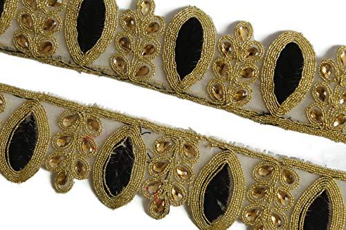 Generic Kundan Trim Saree Border Mirror Embellishment Black Indian Schöne Spitze-Breite 1,5 Zoll-Preis für 1 Yard-IDL425 -