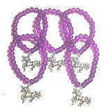 fizzybutton Geschenke Set von 5violett Gummizug Perlen Einhorn Armbänder für jüngere Mädchen Partytüten