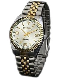 ufengke® luxus herren gold-silber-stahlband handgelenk armbanduhren,leucht armbanduhren für herren-weiß