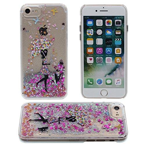 iPhone 7 Coque, Beau Fille Style Motif Série Flowable Eau Étoiles Dur Clair Plastique Transparent Housse de Protection Case pour Apple iPhone 7 4.7 inch color-1