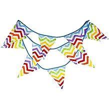 Vi.yo Fondo de Bandera de algodón Diseño de jardín Triangular para Boda de Fiesta