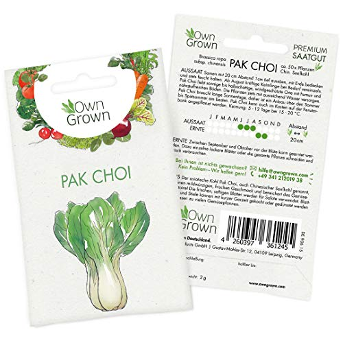 OwnGrown Premium Pak Choi Samen (Chinesischer Senfkohl Samen), Chinakohl Samen zum Anbauen, Pakchoi Saatgut für rund 50 Pflanzen Pak Choi