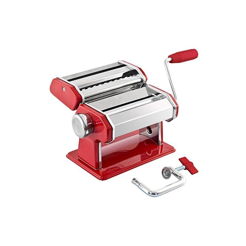 Bremermann Nudelmaschine Edelstahlmetall Rot Fr Spaghetti Pasta Und Lasagne 7 Stufen Pastamaschine Pastamaker
