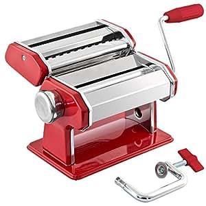 machine à pâtes bremermann inox/métal rouge - pour spaghettis, pâtes et lasagnes (7 positions), machine à pâtes, pasta maker