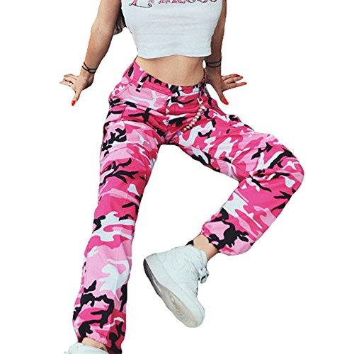 Pantaloni in camoscio di Yoy Pantaloni Camouflage Donne Hip Hip Pant Pantaloni Rosa