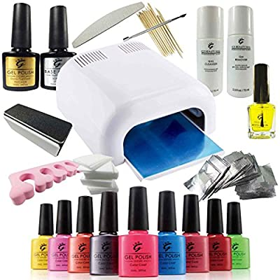 IBN PRO UV Nail Shellac Gel Polish DELUXE Shellac Starter KIT Set // Including 36W UV Lamp, a MASSIVE Range of Accessories, Top Coat & Base Coat, Gift Box & FREE Cuticle Oil worth £9.99. PLUS Gel Colours OF YOUR CHOICE. Everything you will need - Directl