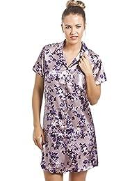 Camille - Chemise de nuit pour femme - longueur genoux - satin - motif floral - violet