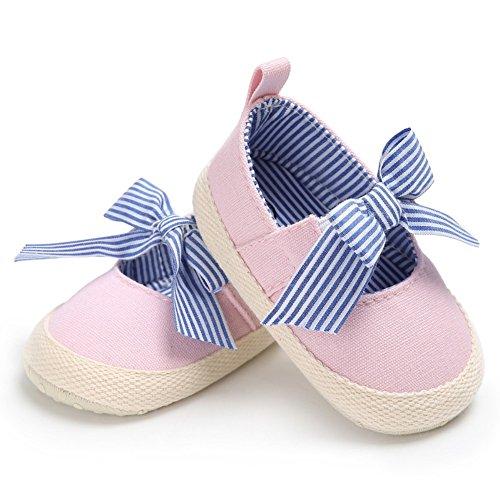 Brightup Baby Schuhe Mädchen Schuhe First Walking Schuhe Striped Bowknot Schuhe Flache Schuhe Pink