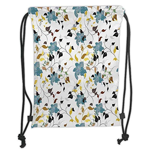 Drawstring Backpacks Bags,Leaves,Flowers Colorful Leaves Poison Ivy Contemporary Decorative Design,Black Brown Red Yellow Teal Cream Soft Satin,5 Liter Capacity,Adjustable String C (Make-up Poison Ivy)