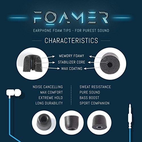 FOAMER F4.9 (L 6) • 6 Paar Noise Cancelling Schaum Ohrpolster für In Ear Kopfhörer • Ersatz für Silikon Ohrhörer Aufsatz • Extra Bass & Klarer Klang • InEar Ohrstöpsel, Memory Foam Earphone Tips - 6