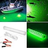Haihuic 12v 10W 66 LED 2000 Lumens IP68 Bateau de pêche nocturne Lumière sous-marine submersible profonde Avec clip de batterie (vert)
