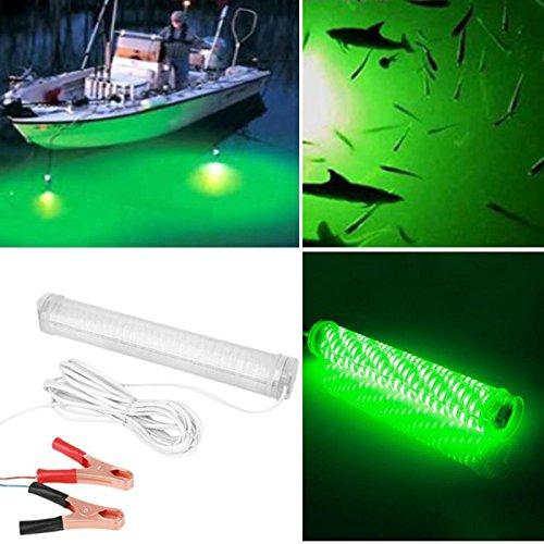 Hanbaili 12v 10W 66 LED 2000 Lumen IP68 Nacht Fischerboot Tauchunterwasser-Unterwasserlicht Mit Batterie-Clip (grün)