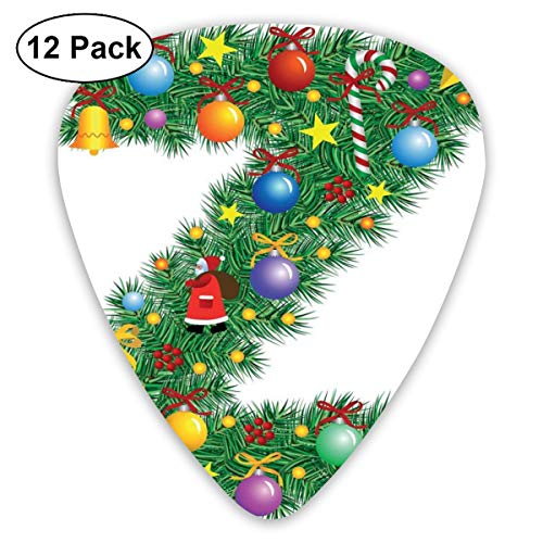 Guitar Picks12pcs Plectrum (0.46mm-0.96mm), Traditional Themed Font Design Z With Colorful Ornaments Christmas Santa Claus,For Your Guitar or Ukulele