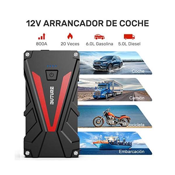 BuTure Arrancador de Coches, 800A 12800mAh Arrancador de Baterias de Coche para 6.0L Gasolina o 5.0L Diesel