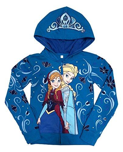 Disney Frozen Anna and Elsa Girls Zip-Up Hoodie Sweatshirt | ()
