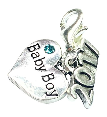 Baby Boy 2017 Clip on Charm with Blue Gift Bag Handmade by Libbys Market Place