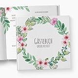 myindividoo Gästebuch Boho, mit Fragen/Ankreuzen, Hochzeitsgästebuch, Hochzeitsgeschenk, Geschenk, Hochzeit, Blumen, Blüten, Boho, Bohemian, Blumenkranz, Blütenkranz