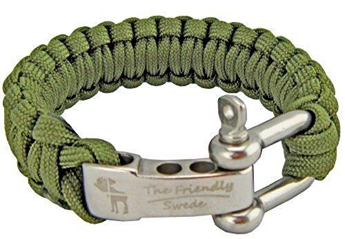 The Friendly Swede Braccialetto di Sopravvivenza in Paracord con Gancio D in Acciaio Inossidabile - Taglia Regolabile per Polsi di 18-20 cm (Verde Militare)