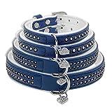 Berry Strass Kristall Halsband mit Herz Anhänger | Premium PU Soft Leder gepolstert | 4Größen XS S M l|fit für kleine medium Hunde und Katzen