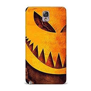 Samsung Note 3 Case, Samsung Note 3 Hard Protective SLIM Cover [Shock Resistant Hard Back Cover Case] for Samsung Note 3 -Halloween Pumpkin Sharp Teeth Illustration
