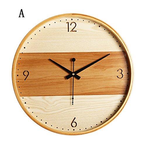 Vinteen moderno orologio da parete in legno massello semplice nord europa grande orologio da camera da letto orologio da taschino silenzioso orologio da salotto creatività orologio e orologi horologe in legno ( color : a )
