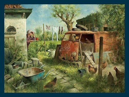 Preisvergleich Produktbild Bild mit Rahmen Marius van Dokkum - Henhouse - Holz blau, 80 x 60cm - Premiumqualität - , Karikatur, alter Bauernhof, alte Frau, Hühnerhof, Hühnerhaus, Autowrack, Garten, Bulli, .. - MADE IN GERMANY - ART-GALERIE-SHOPde