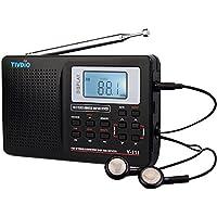 Tivdio Radio Portátil DSP FM Estéreo / MW / SW / LW Radio Receptor Multi-Banda Completa Reloj y Alarma 9KHz