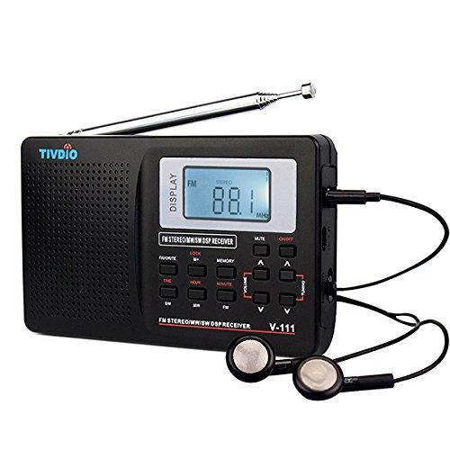Tivdio V-111 Tragbares Radio AM / FM / SW DSP Kurzwellen Radio Batteriebetriebenes Weltempfänger Radio Taschen Reise Transistor Radio Stereo Receiver mit Digital Wecker und Sleep Timer (Schwarz) (Batterie / Fm Am Radio)