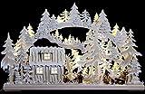 3D-doppio-Arch - capanna della foresta con i lavoratori forestali e gelo bianco - 62x38cm / 24x15inch - Autentica tedesco Erzgebirge Candela Arches - RATAGS