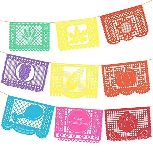 BESTOYARD Mehrfarbige Voller Wünsche Festival Thanksgiving Große Papel Picado Banner Größe 35x25 cm 9 STÜCKE